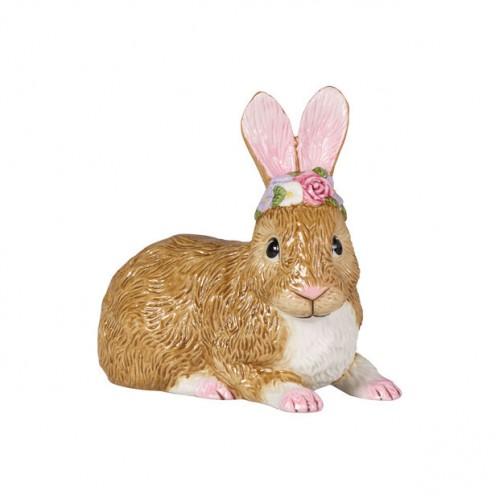 Easter Bunnies Nagyméretű fekvő nyuszi virágkoszorúval 13x13cm