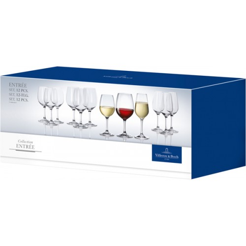 Entrée 12 db-os Set 4 vörösboros, 4 fehérboros, 4 pezsgős pohár